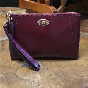 Coach Morgan crossgrain leather sherry clutch
